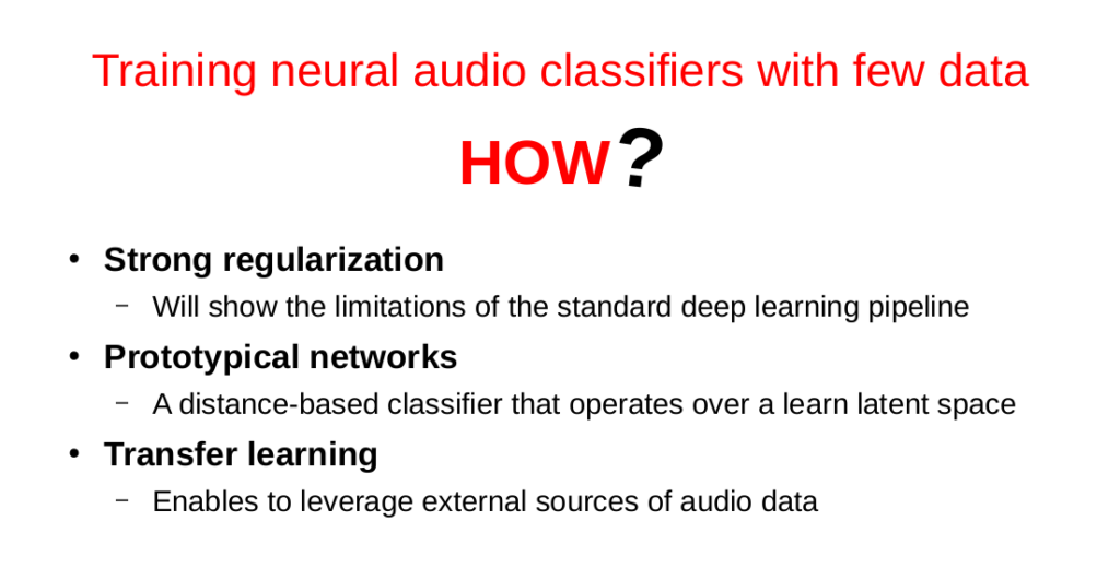 Slides: Training neural audio classifiers with few data