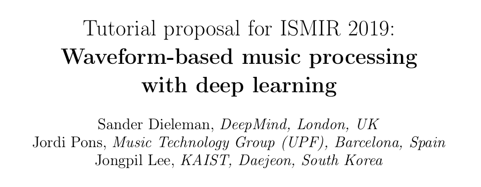Tutorial accepted: Waveform-based music processing with deep